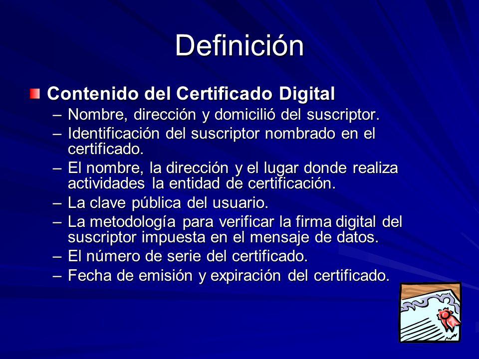 Definición Contenido del Certificado Digital