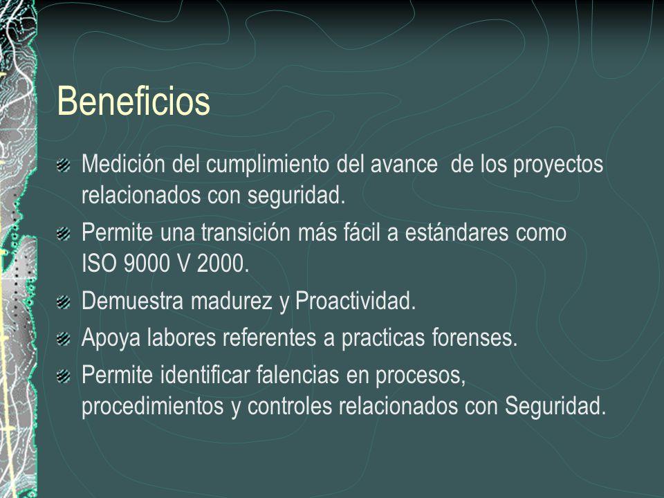 Beneficios Medición del cumplimiento del avance de los proyectos relacionados con seguridad.