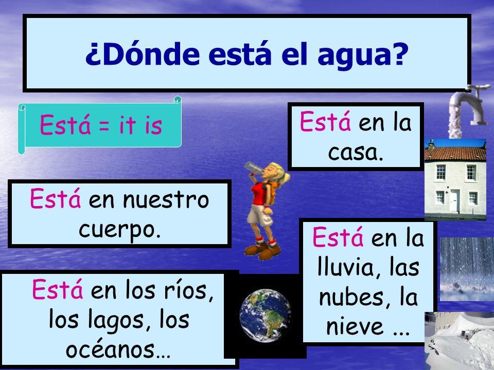 ¿Dónde está el agua Está = it is Está en la casa.