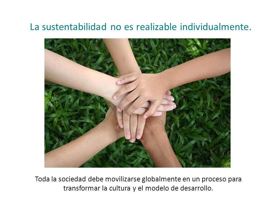 La sustentabilidad no es realizable individualmente.