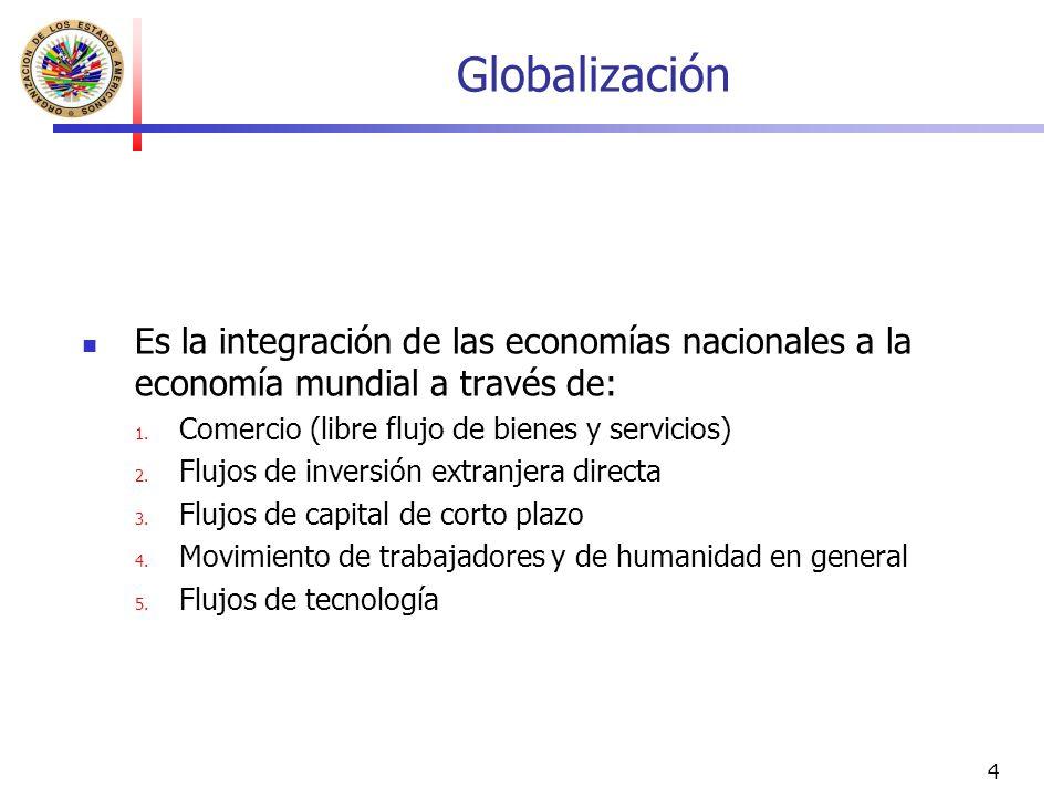 Globalización Es la integración de las economías nacionales a la economía mundial a través de: Comercio (libre flujo de bienes y servicios)
