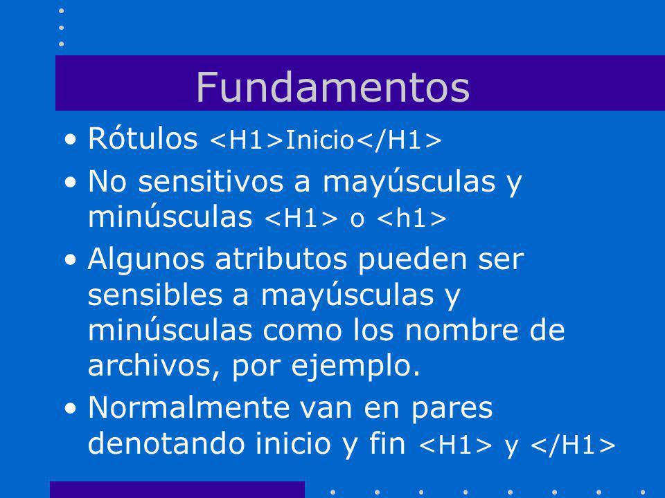 Fundamentos Rótulos <H1>Inicio</H1>