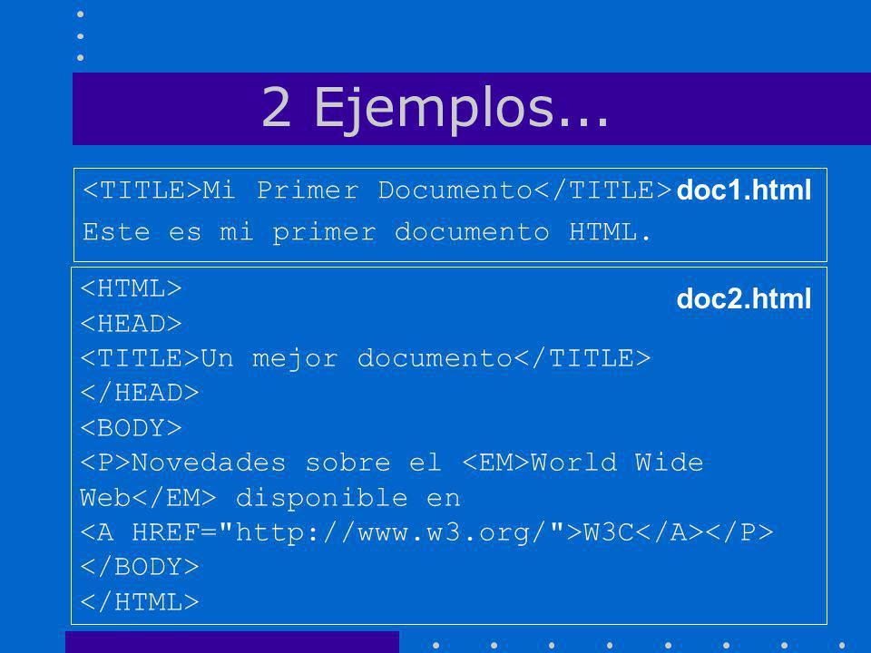 2 Ejemplos... <TITLE>Mi Primer Documento</TITLE> doc1.html