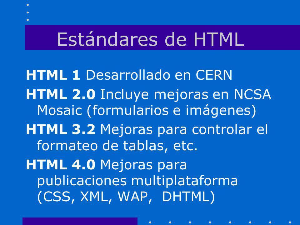 Estándares de HTML HTML 1 Desarrollado en CERN