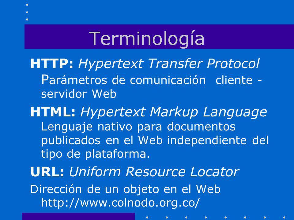 Terminología HTTP: Hypertext Transfer Protocol Parámetros de comunicación cliente - servidor Web.