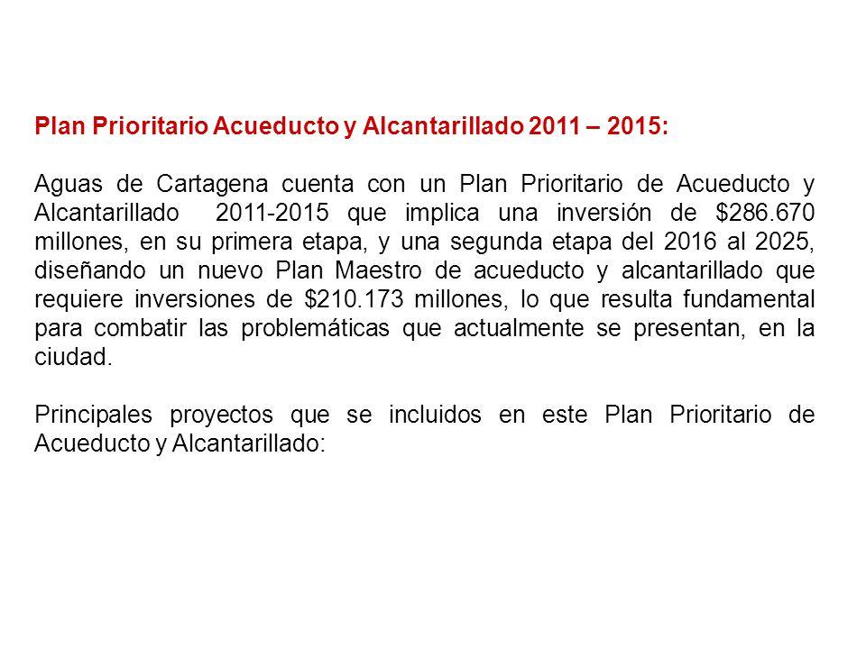 Plan Prioritario Acueducto y Alcantarillado 2011 – 2015: