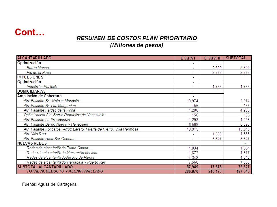 RESUMEN DE COSTOS PLAN PRIORITARIO (Millones de pesos)