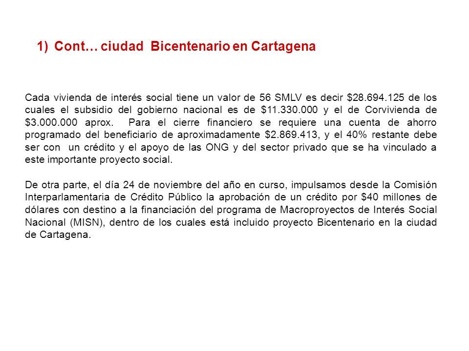 Cont… ciudad Bicentenario en Cartagena