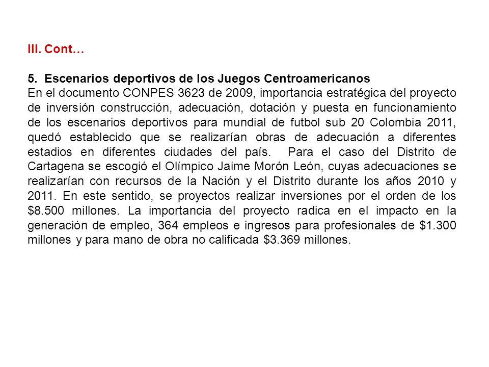 III. Cont… 5. Escenarios deportivos de los Juegos Centroamericanos.