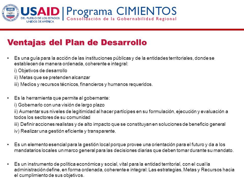 Ventajas del Plan de Desarrollo