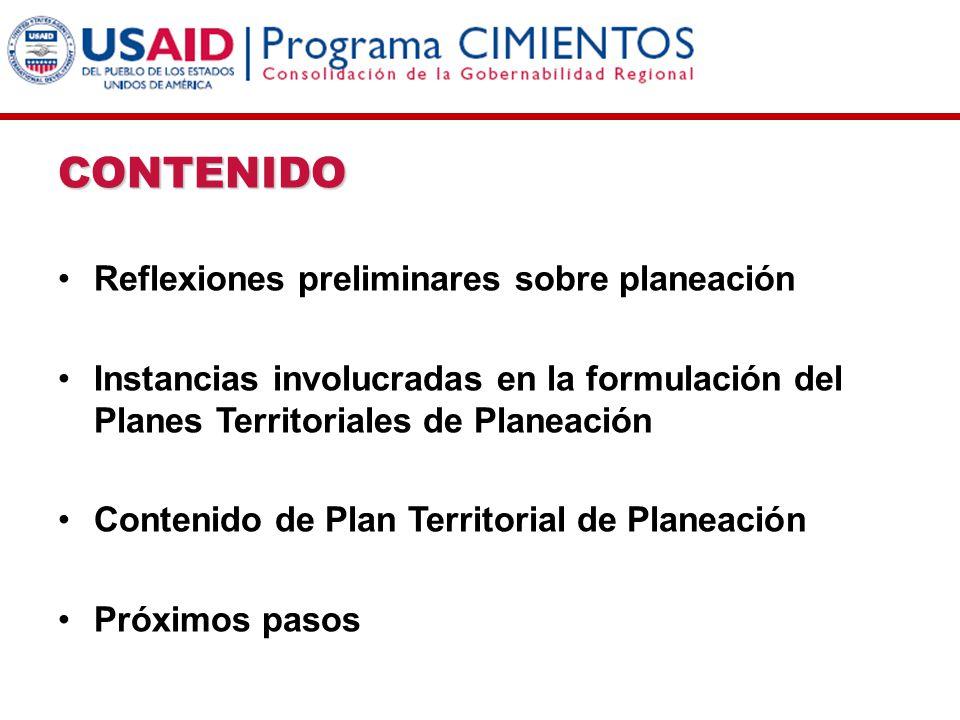 CONTENIDO Reflexiones preliminares sobre planeación