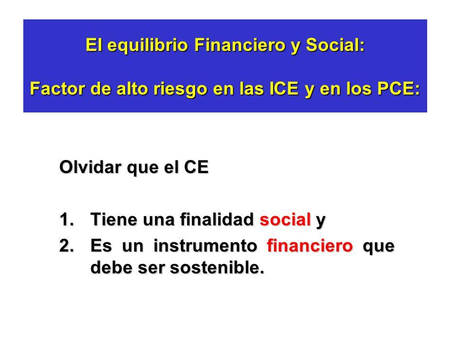 El equilibrio Financiero y Social: Factor de alto riesgo en las ICE y en los PCE: