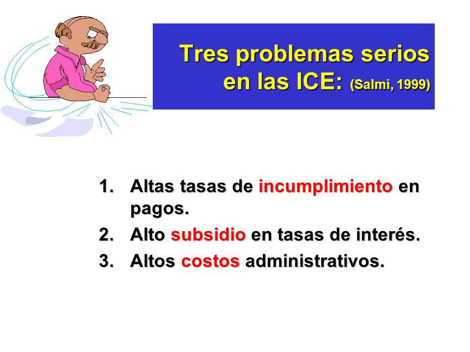 Tres problemas serios en las ICE: (Salmi, 1999)
