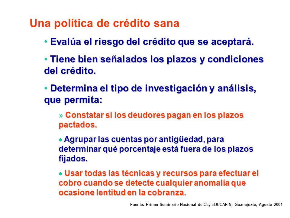 Una política de crédito sana