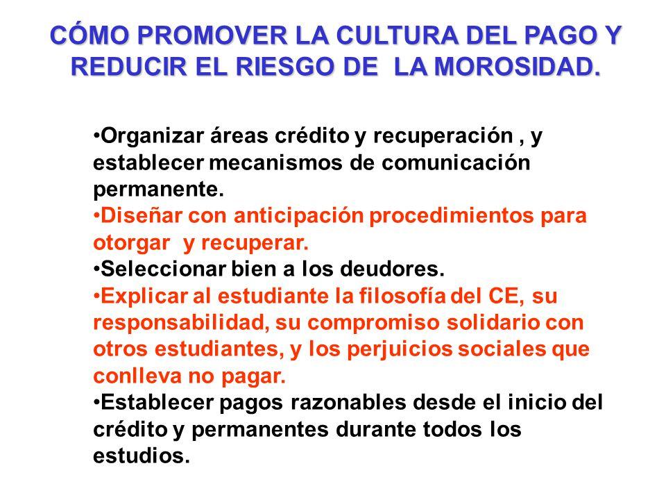 CÓMO PROMOVER LA CULTURA DEL PAGO Y REDUCIR EL RIESGO DE LA MOROSIDAD.