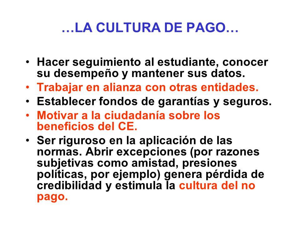 …LA CULTURA DE PAGO… Hacer seguimiento al estudiante, conocer su desempeño y mantener sus datos. Trabajar en alianza con otras entidades.