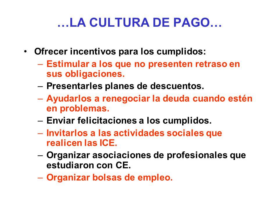 …LA CULTURA DE PAGO… Ofrecer incentivos para los cumplidos: