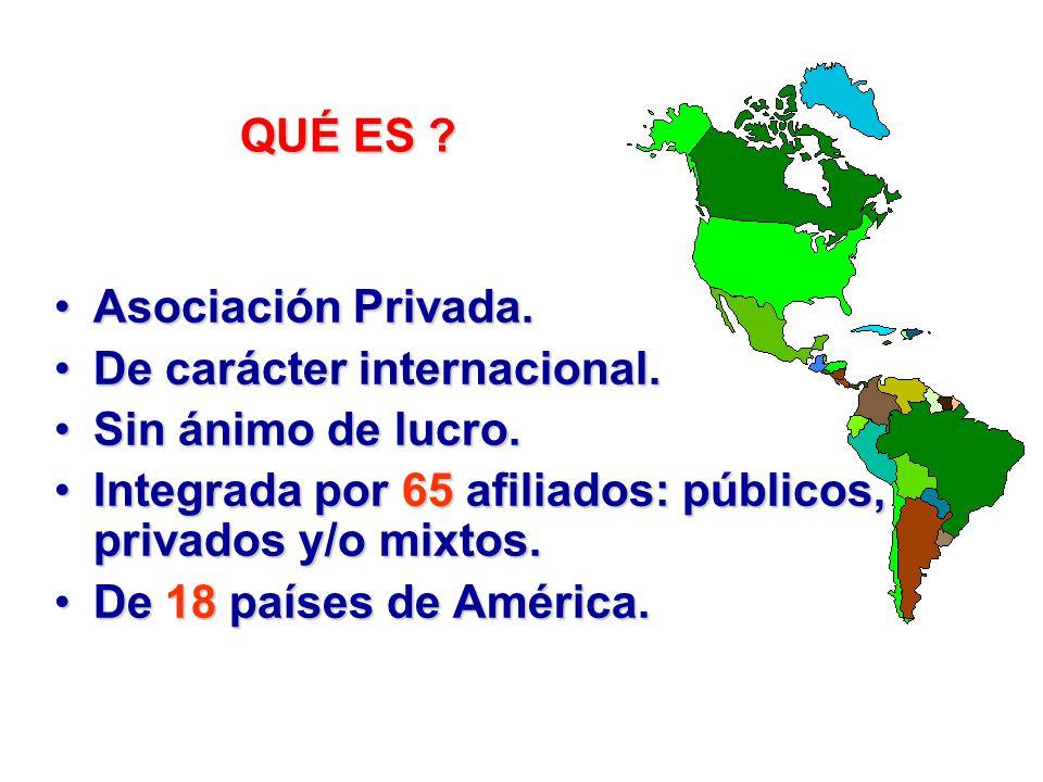 QUÉ ES Asociación Privada. De carácter internacional. Sin ánimo de lucro. Integrada por 65 afiliados: públicos, privados y/o mixtos.