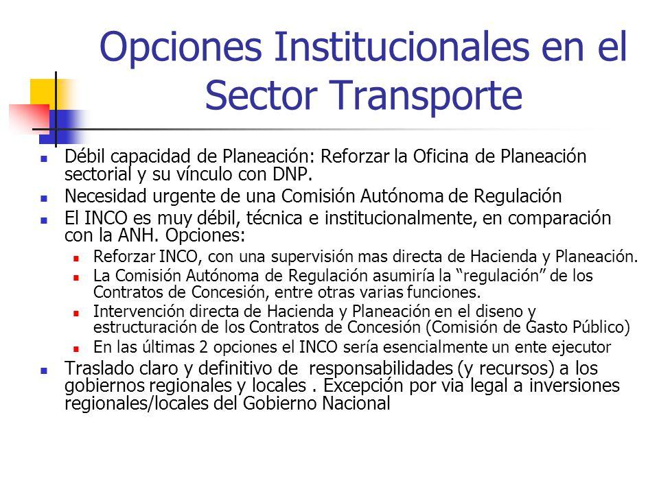 Opciones Institucionales en el Sector Transporte
