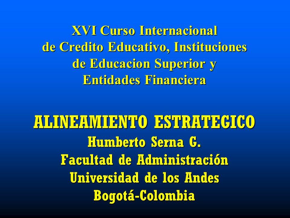 XVI Curso Internacional de Credito Educativo, Instituciones de Educacion Superior y Entidades Financiera ALINEAMIENTO ESTRATEGICO Humberto Serna G.