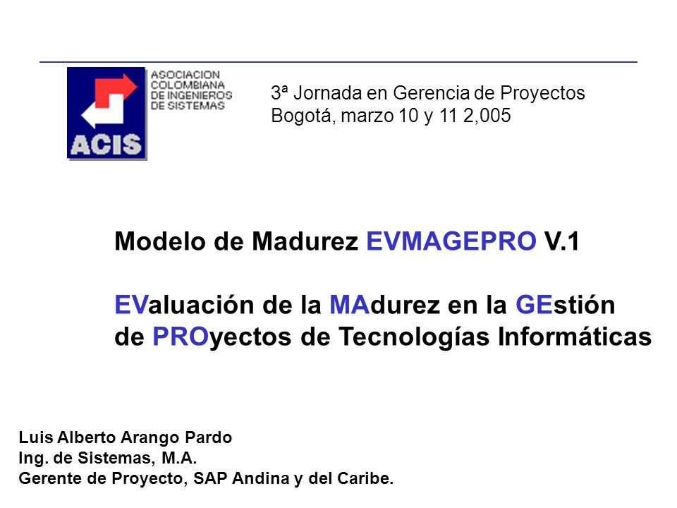 Modelo de Madurez EVMAGEPRO V.1