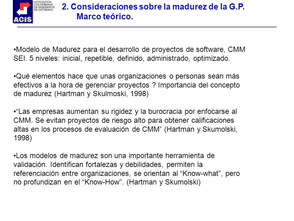 2. Consideraciones sobre la madurez de la G.P. Marco teórico.