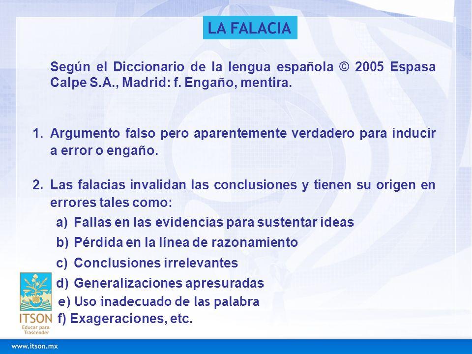 LA FALACIA Según el Diccionario de la lengua española © 2005 Espasa Calpe S.A., Madrid: f. Engaño, mentira.