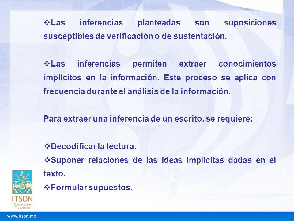 Las inferencias planteadas son suposiciones susceptibles de verificación o de sustentación.