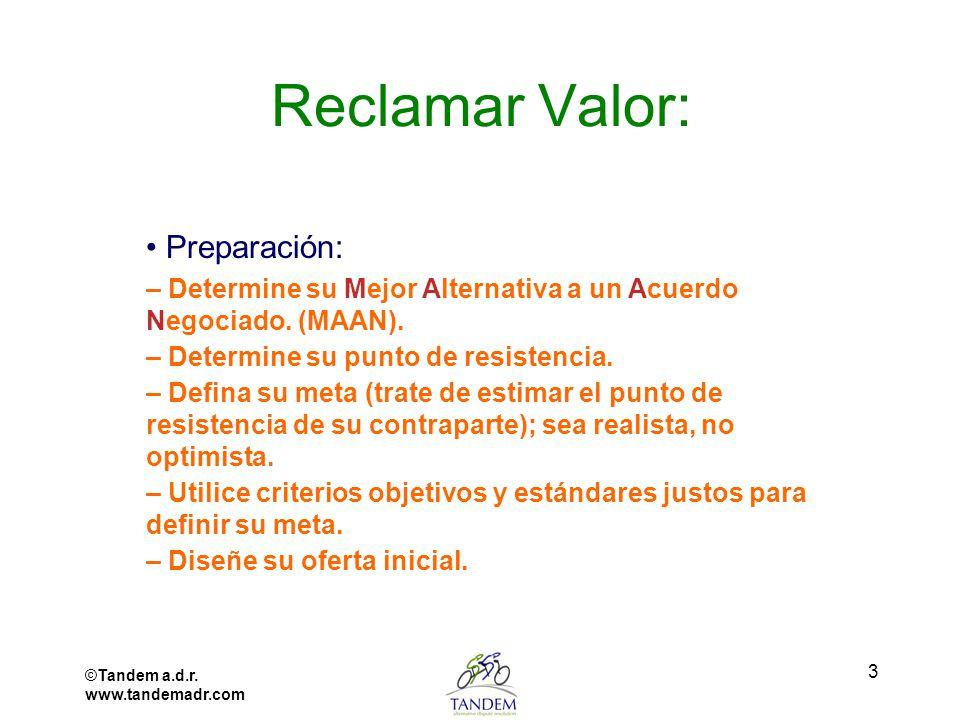 Reclamar Valor: • Preparación: