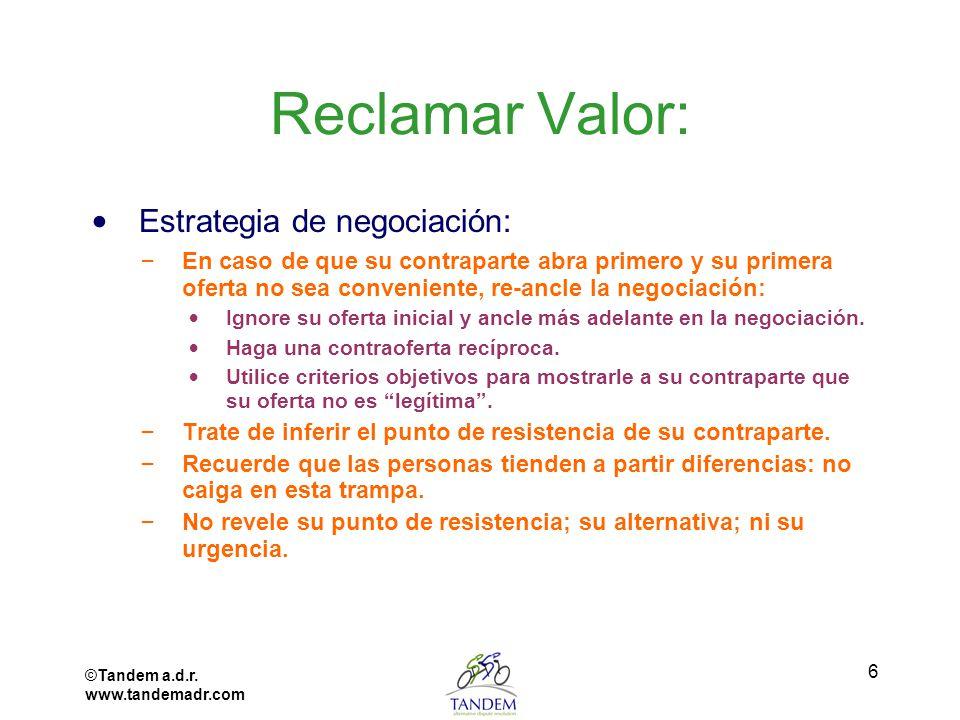 Reclamar Valor: Estrategia de negociación: