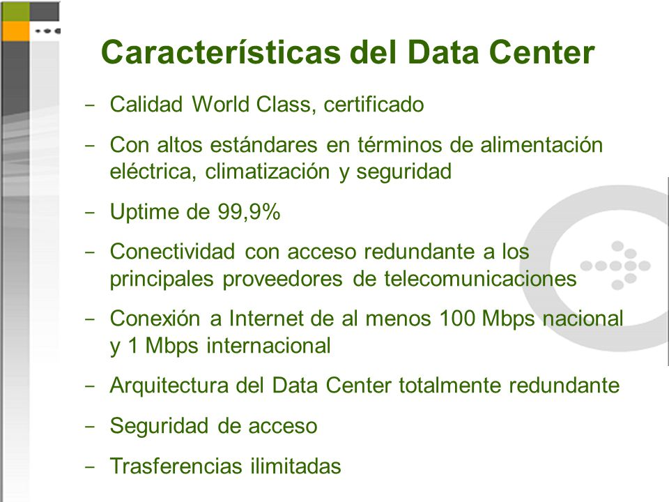 Características del Data Center
