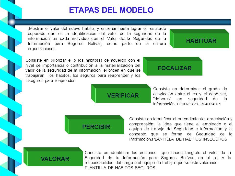 ETAPAS DEL MODELO HABITUAR FOCALIZAR VERIFICAR PERCIBIR VALORAR