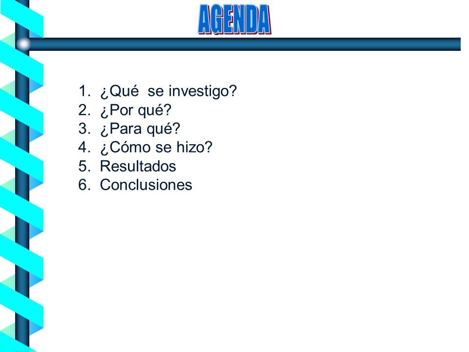 AGENDA 1. ¿Qué se investigo 2. ¿Por qué 3. ¿Para qué