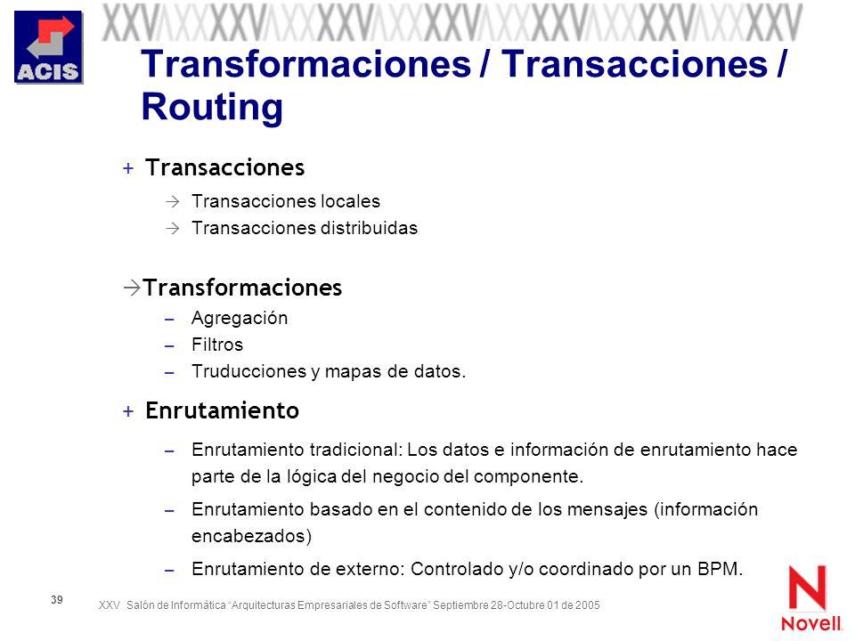 Transformaciones / Transacciones / Routing