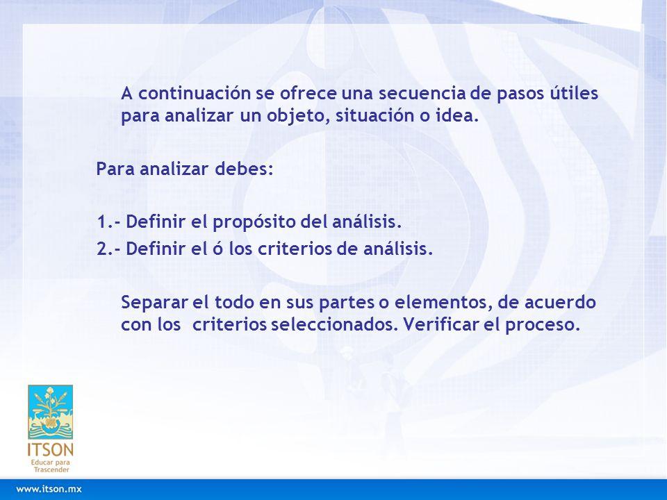 A continuación se ofrece una secuencia de pasos útiles para analizar un objeto, situación o idea.