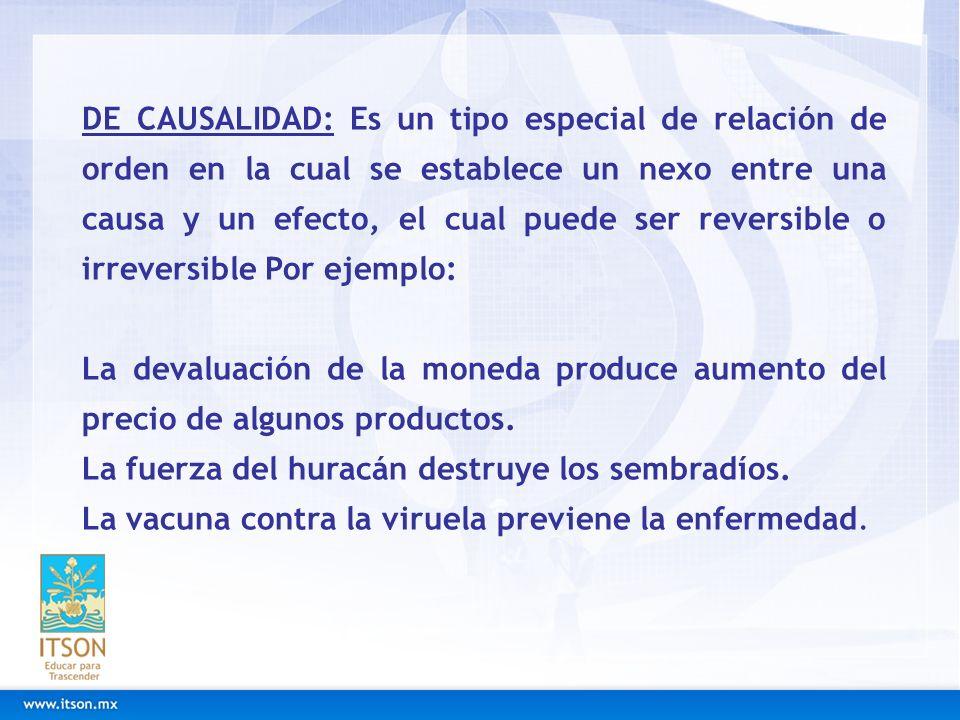 DE CAUSALIDAD: Es un tipo especial de relación de orden en la cual se establece un nexo entre una causa y un efecto, el cual puede ser reversible o irreversible Por ejemplo:
