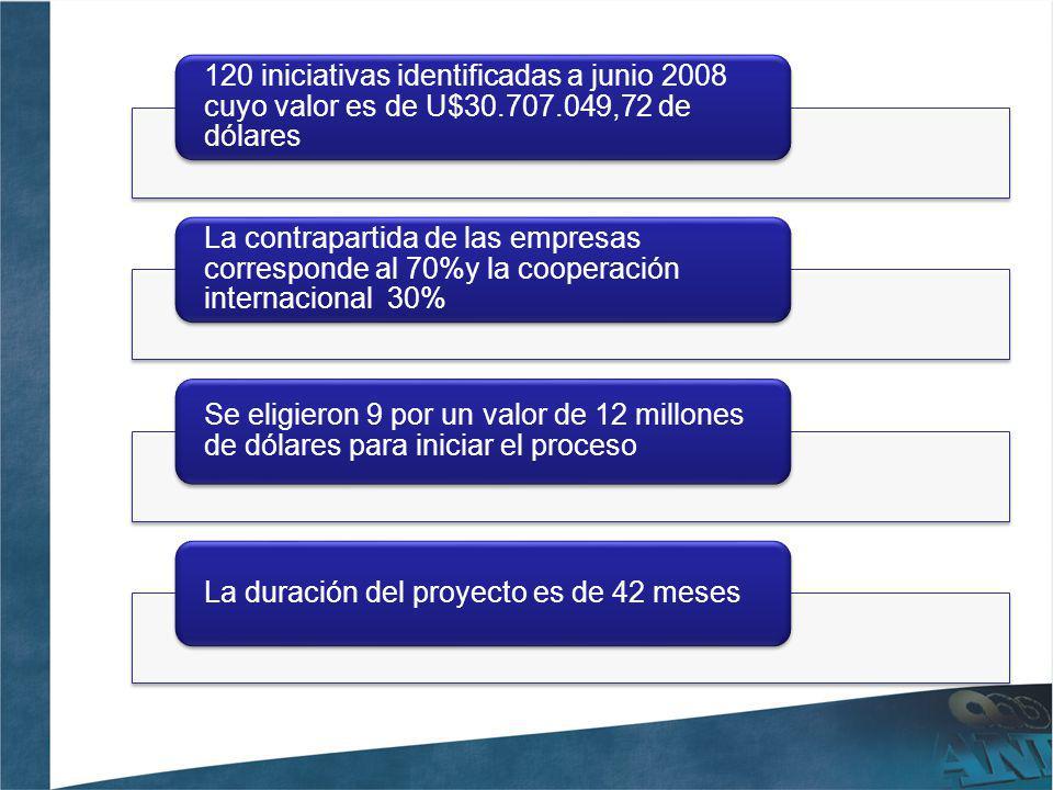 120 iniciativas identificadas a junio 2008 cuyo valor es de U$30. 707