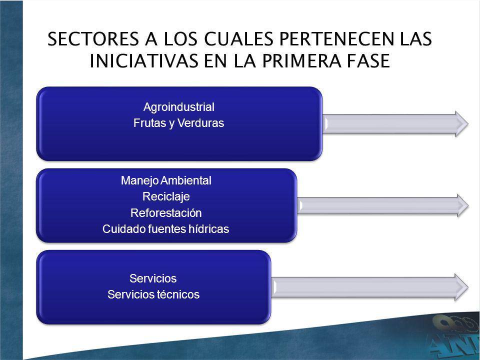 SECTORES A LOS CUALES PERTENECEN LAS INICIATIVAS EN LA PRIMERA FASE