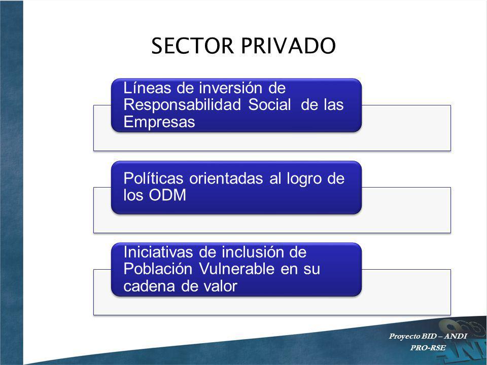 SECTOR PRIVADO Líneas de inversión de Responsabilidad Social de las Empresas. Políticas orientadas al logro de los ODM.