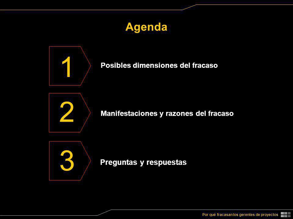 1 2 3 Agenda Preguntas y respuestas Posibles dimensiones del fracaso