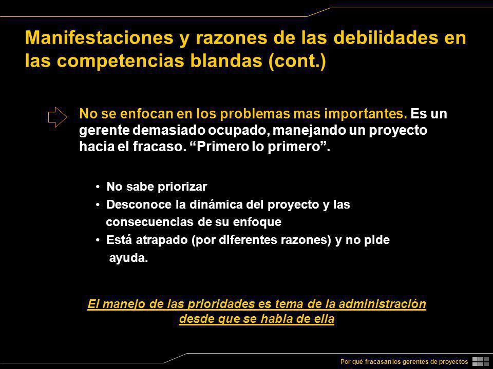 Manifestaciones y razones de las debilidades en las competencias blandas (cont.)