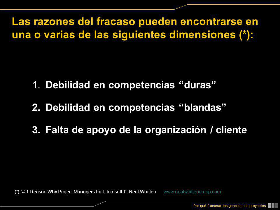 Las razones del fracaso pueden encontrarse en una o varias de las siguientes dimensiones (*):