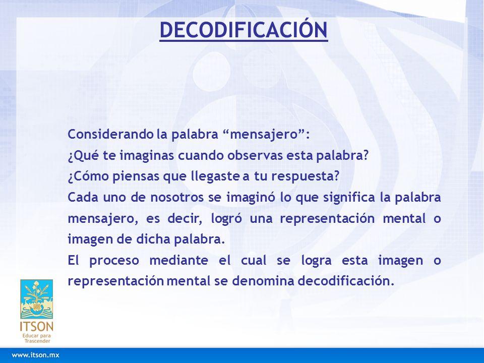 DECODIFICACIÓN Considerando la palabra mensajero :