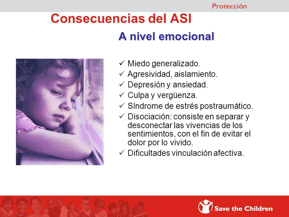 Consecuencias del ASI A nivel emocional Miedo generalizado.