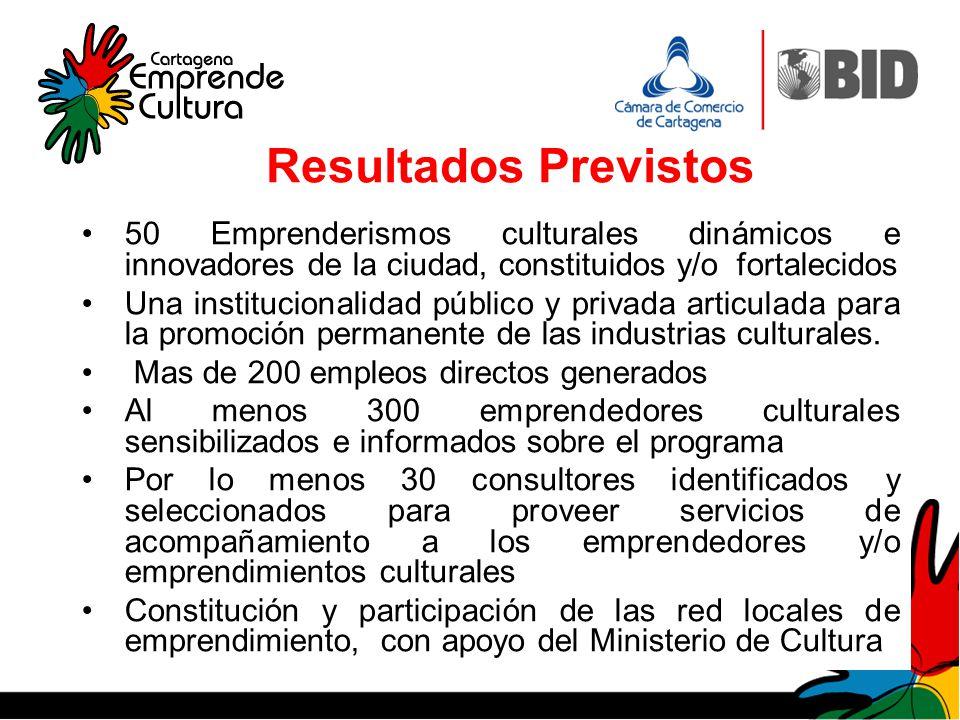 Resultados Previstos 50 Emprenderismos culturales dinámicos e innovadores de la ciudad, constituidos y/o fortalecidos.