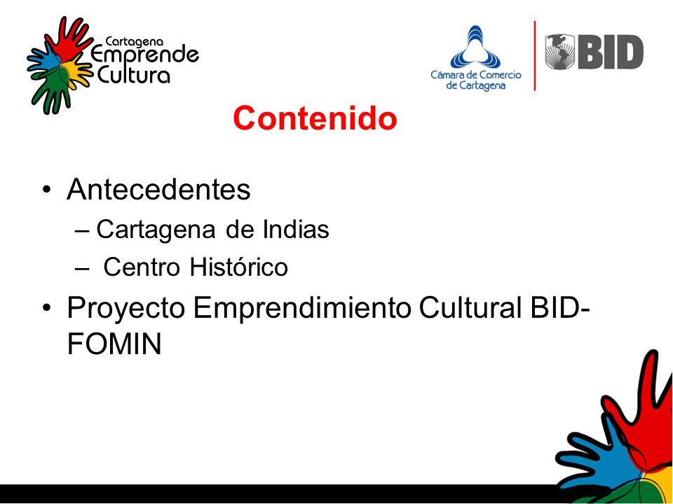 Contenido Antecedentes Proyecto Emprendimiento Cultural BID-FOMIN