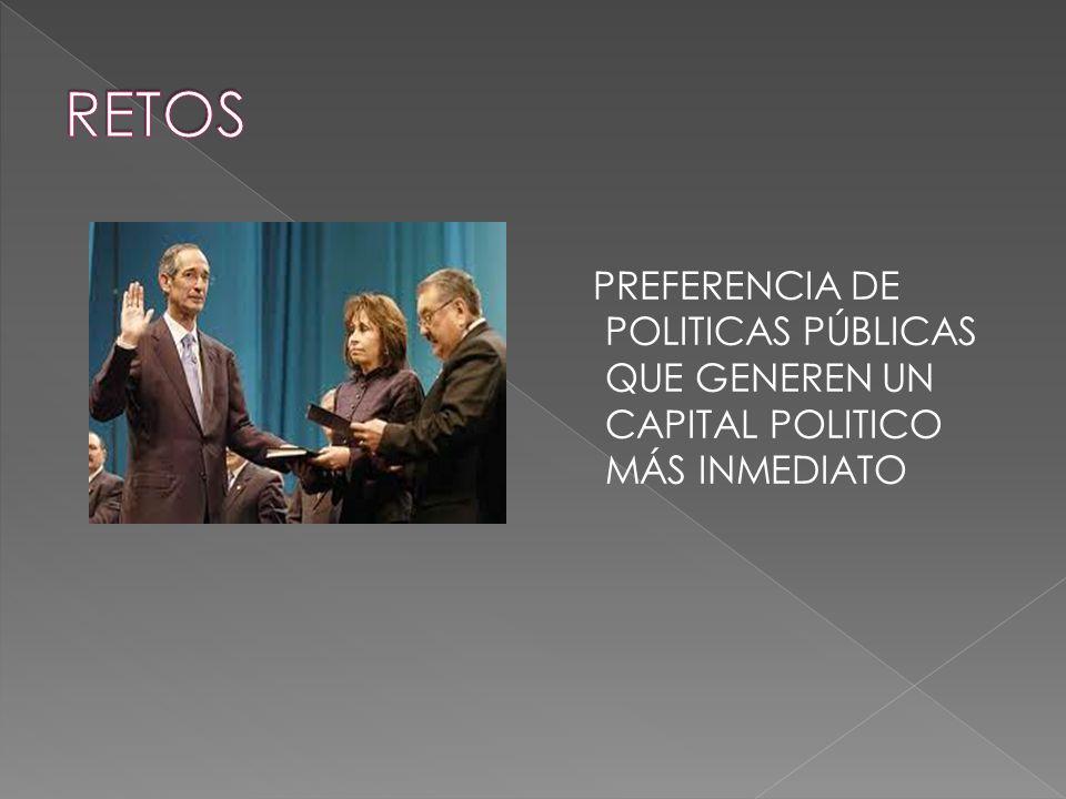 RETOS PREFERENCIA DE POLITICAS PÚBLICAS QUE GENEREN UN CAPITAL POLITICO MÁS INMEDIATO