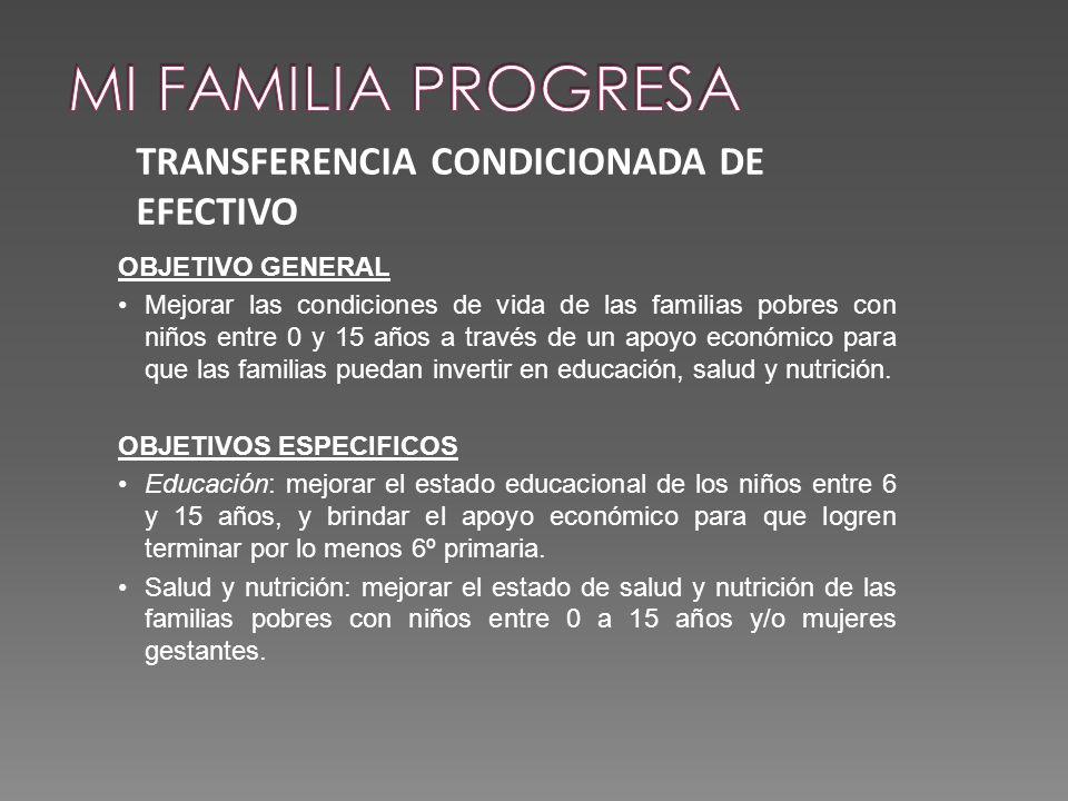 MI FAMILIA PROGRESA TRANSFERENCIA CONDICIONADA DE EFECTIVO