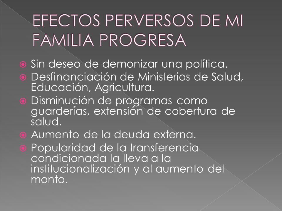 EFECTOS PERVERSOS DE MI FAMILIA PROGRESA