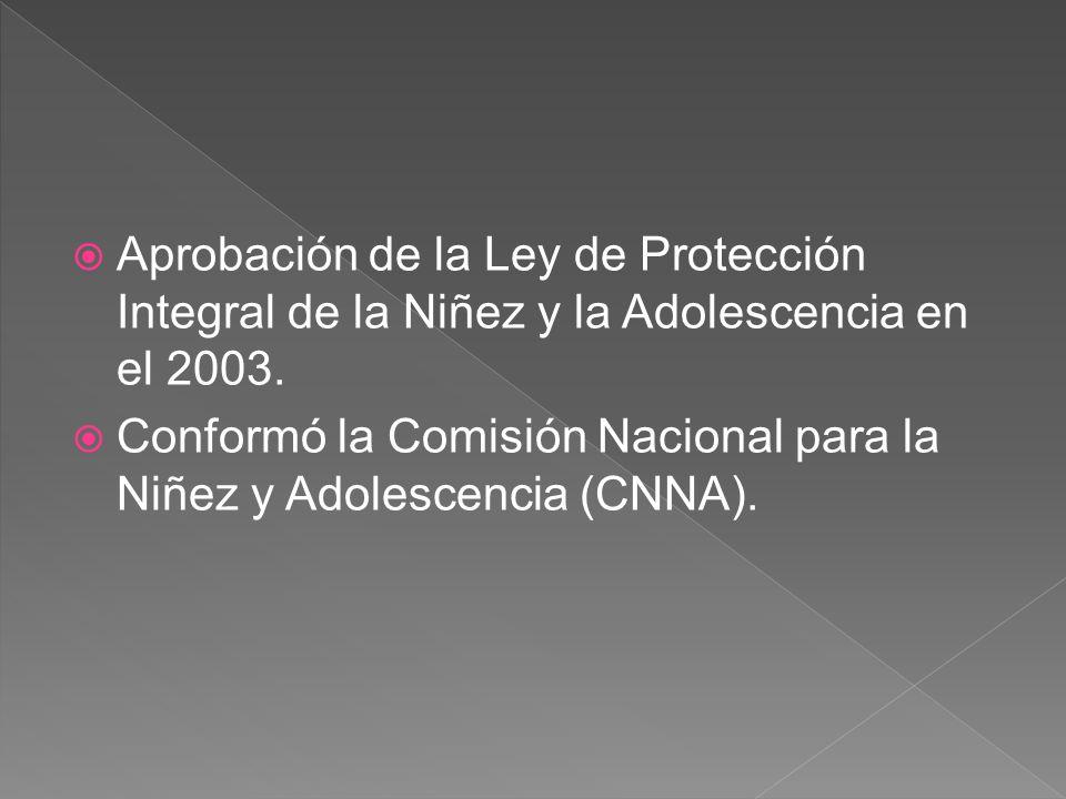 Aprobación de la Ley de Protección Integral de la Niñez y la Adolescencia en el 2003.